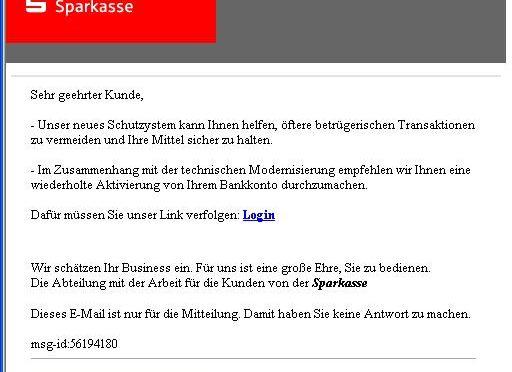 A-I3 HINWEIS: Neue Phishing-Mail gegen die Sparkasse