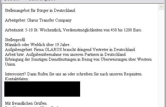 A-I3: Neue Phishing-Mail – Stellenangebot für Dienstleister