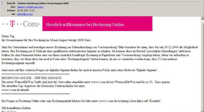 Telekom Rechnung Online Monat August 2006
