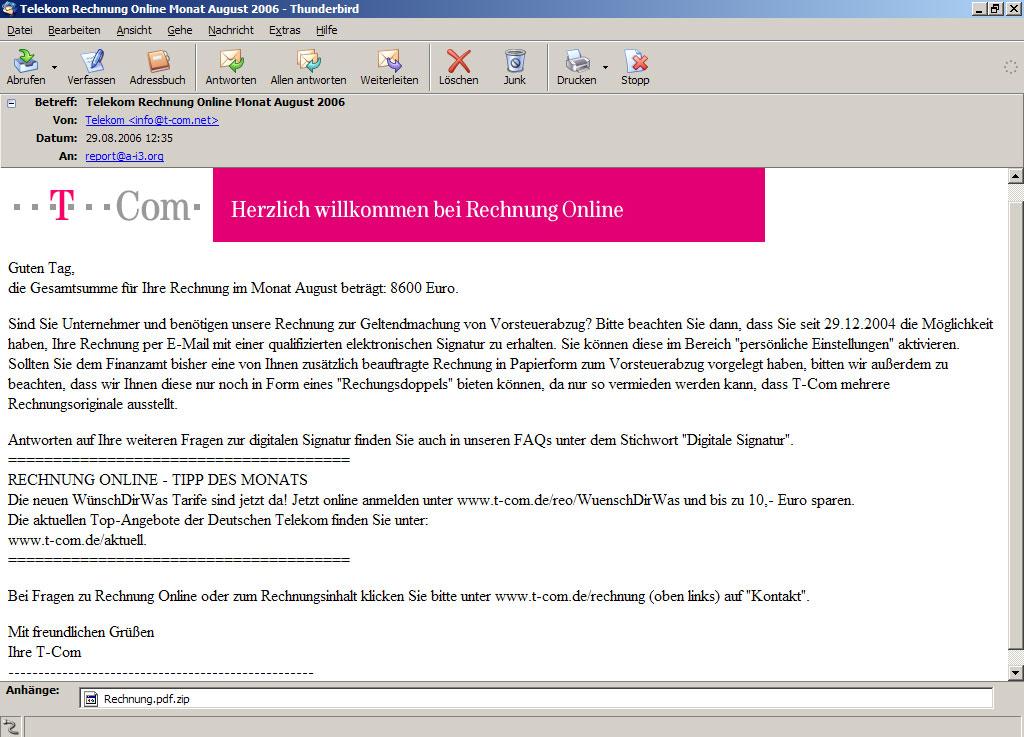 Telekom Rechnung Online Monat August 2006 A I3org